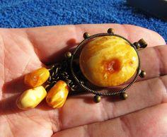 Natural Baltic amber 11 g Antique Egg Yolk pendant USSR jewelry 琥珀 gemstone  #HandMade