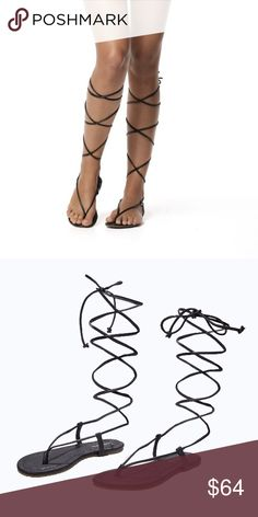 PilyQ Gladiator Sandals Black Gladiator Sandals that wrap up your leg and tie in a bow. These Sandals pair well with anything and everything. PilyQ Shoes Sandals