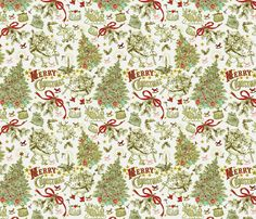 Vintage ho ho ho custom fabric by floramoon for sale on Spoonflower Custom Fabric, Spoonflower, Craft Projects, Quilts, Sewing, Fabrics, Crafts, Scrapbooking, Colorful