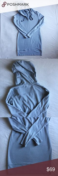 "Athleta Bliss Hoodie Dress Super soft cotton blend dress from Athleta. V-neck, thumb holes and hoodie. Very light pilling from gentle wear. Laying flat measures 18"" across the chest, 26"" from top of shoulder to cuff and 33.5"" from back collar to hem. Athleta Dresses"