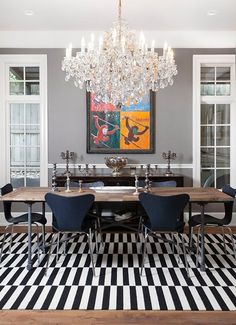Push Your Style: 7 Bold Ideas from Pros — Professional Projects. A black and white contrasting modern rug wows next to an extravagant chandelier and colorful art in this dining room, also by Rebekah Gainsley. Dining Room Design, Dining Area, Dinning Table, Ikea Stockholm Rug, Home Interior Design, Interior Decorating, Decorating Ideas, Decor Ideas, Dining Room Inspiration