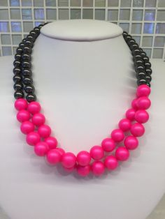 Neon Pink and Black Pearl Necklace Neon jewelry by danaADesigns
