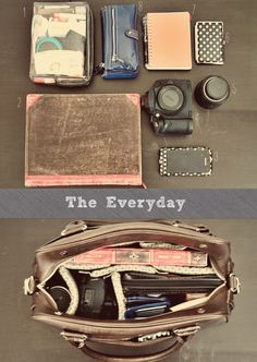 Different ways to organize camera bag based on what you are doing (ie: traveling, everyday, shooting, etc)