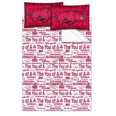 Full NCAA COL Arkansas Razorbacks Fayetteville Anthem Sheet Set Cardinal White Sports Patterned Bedding Team Logo Arkansas Merchandise Team Spirit