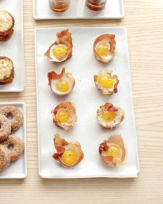 Mini Quail Eggs in Prosciutto Nests Don't confine these bites to brunch -- serve them as late-night reception snacks.  YIELD: Makes 12