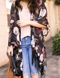 7aab49091a8 Back to School  Dark Floral Kimono Outfit