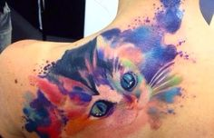 Cat Watercolor Tattoo Designs for Shoulder   She in Fashion