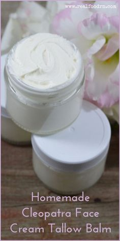 Homemade Cleopatra Face Cream Tallow Balm Recipe - Learn how to make your own face cream with tallow balm. The essential oils in this recipe are very soothing and supportive to the skin.  #homemadefacecream #facecream #diyfacecream #facecreamwithessentialoils #essentialoils #tallowbalm #NaturalBodyScrub Homemade Face Lotion, Homemade Skin Care, Homemade Beauty Products, Homemade Face Creams, Homemade Face Moisturizer, Facial Cleanser, Tallow Recipe, Cleopatra, Real Food Recipes