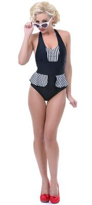 Retro Bikinis & Two-Piece Swimsuits Retro Swimwear, One Piece Swimwear, Vintage Dresses, Vintage Prom, Unique Vintage, Vintage Style, Retro Dress, Black White Stripes, Female Form