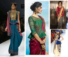Ideas on How to flaunt in a saree without showing tummy and to hide post pregnancy fat, love handles. Also some Do's and Don'ts to get the elegant saree look. Indian Gowns Dresses, Indian Fashion Dresses, Indian Designer Outfits, Saree Blouse Neck Designs, Fancy Blouse Designs, Dresses To Hide Tummy, Saree Trends, Blouse Models, Stylish Sarees