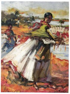 """Pagesa amb ventall"", any 1941 - Autor: Narcis Puget Viñas (1874-1960)"