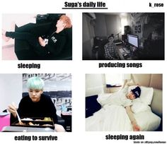Suga doesn't have as much as the others... But he puts a lot of effort tho into doing those things