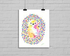Little Colorful Rainbow Hedgehog Illustration Art by Littlecatdraw