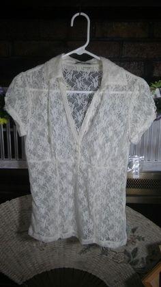 """APT 9"" Ladies Ivory Lace 4 Button Front Empire Style Blouse Cap Sleeve  S  NWT #Apt9 #ButtonDownShirt #EveningOccasion"
