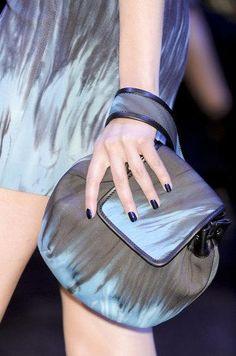 Versace Designer Handbags Online, Donatella Versace, Best Handbags, Couture Collection, Fashion History, Fashion Details, Handbag Accessories, Periwinkle Blue, Purses And Bags