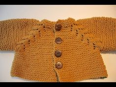 How to knit baby sweater/cardigan top down (Garter Stitch) - YouTube
