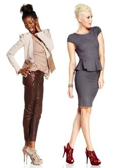 Work modern two ways, with an on-trend peplum dress or with a uniquely detailed blazer, jersey top, and rust colored leather pants.