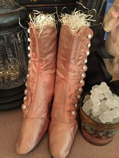 Beautiful Antique Victorian Pink Silk Button Boots Shoes