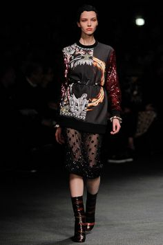 Givenchy fall '13: ornate, mixed-media sweatshirt with sheer embellished skirt & mid-calf snake boots