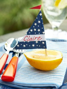 Lemon Boat Place Card -- Make these adorable place cards for a summer party.
