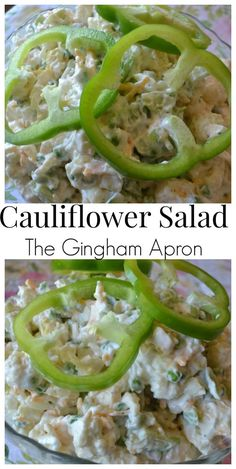 Cauliflower Salad- filled with cauliflower, green bell peppers, peas ...
