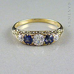Ring Size 5.5 16.10mm Antique Genuine Diamond Ring 18ct Platinum and Diamond Trilogy Ring K 12