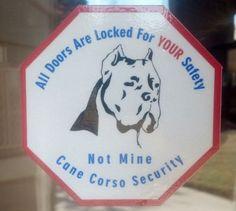 Cane Corso Security Sticker