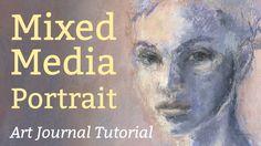 Art journal tutorial by Juna Biagioni, showing how to create this mixed media portrait. www.junabiagioni.com