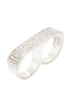 ERICA ANENBERG Argent Ice Classic Sparkle Twosome Ring