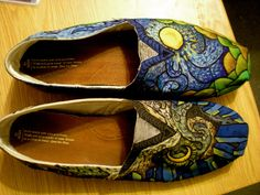 Van Gogh Painted Shoes by cactusSoup on Etsy, $110.00
