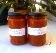 Kisildi: Zakuszka az ősz gyümölcseivel- zacusca cu fructe Salsa, Jar, Food, Red Peppers, Essen, Salsa Music, Meals, Yemek, Jars
