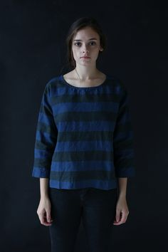 Ichi Antiquites Black and Navy Striped Pullover