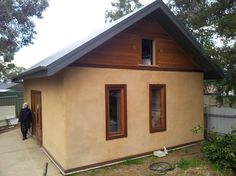 Home is a Straw Bale House – Huff 'n' Puff Strawbale . Sustainable Architecture, Residential Architecture, Contemporary Architecture, Shed Plans, House Plans, Straw Bale Construction, Eco Buildings, Underground Homes, Straw Bales