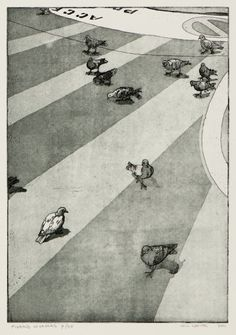 Pigeons in cannes etching with aquatint on somerset paper Number 8 of a limited run of 25 Print size 21cm by 30cm ( 8.25 by 12 ), paper size