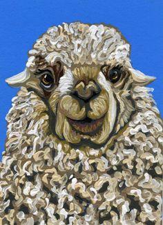 ACEO ATC LLama Pet Farm Wildlife Art Original Painting-Carla Smale #Realism