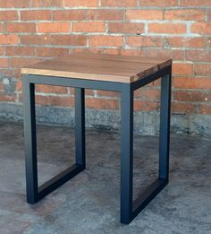 Edge Wood Industrial Side Table by Maple City Furniture on Scoutmob Shoppe This would be the perfect end tables for Quincy's room Welded Furniture, Iron Furniture, Steel Furniture, Unique Furniture, Furniture Makeover, Home Furniture, Furniture Stores, Furniture Websites, Rustic Furniture