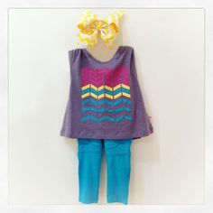 Complete your surfer style and rock this bright and summery outfit all summer long!!! SHOP NOW www.colibribebe.com #colibribebe #ootd #beautiful #tank #pants #bow #chevron #fashionkids #loveit