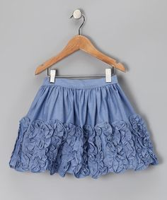 Chambray Wave Ruffle Skirt - Girls by Ruffles & Rosettes: Girls' Apparel on today! Toddler Outfits, Kids Outfits, Ruffle Skirt, Ruffles, Girly Outfits, Handmade Clothes, Sewing Clothes, Girly Girl, Skirt Fashion
