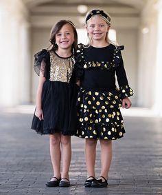 Black & Gold Sparkle Ballet Dress - Infant, Toddler & Girls