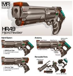 Commission: Hybrid Revolver by aiyeahhs on DeviantArt Sci Fi Weapons, Weapon Concept Art, Fantasy Weapons, Weapons Guns, Armor Concept, Future Weapons, Cool Guns, Shadowrun, Shotgun