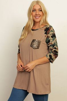 1X 2X 3X PLUS MOCHA CAMO 3/4 SLEEVE TOP WITH SEQUIN POCKET - FREE US SHIP #Unbranded #Tunic #Casual