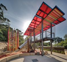 "Taronga Zoo's ""Lemur Forest Adventure"" is an experientially rich project which brings together play, education, interpretation and animal care. The security and fall protection is ensured by the woven stainless steel mesh supplied and installed by Ronstan Tensile Architecture."