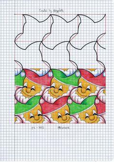 #tessellation #symmetry #geometry #pattern #handmade #mathart #regolo54 #escher #tiling #wallpaper
