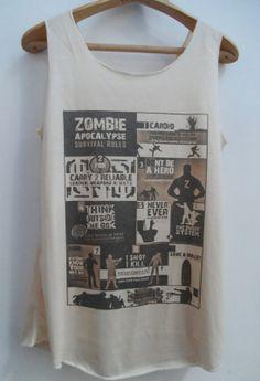 Zombie Apocalypse Survival Rules Tshirt  Movies by vintageartshirt!!!!!!!!!!!!!!