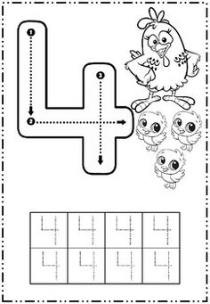 Number 4 - Preschool Printables - Free Worksheets and Coloring Pages for Kids (Learning numbers, counting - Broj 4 - Bojanke za djecu - brojevi, radni listovi BonTon TV Number Worksheets Kindergarten, Preschool Writing, Numbers Preschool, Preschool Learning Activities, Learning Numbers, Writing Numbers, Preschool Printables, Free Worksheets, Kids Learning