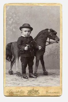 Tiny Boy with Stick & Big Toy Horse CDV Photo  by Schmidt Ede, Budapest, Hungary  ***says year in 1860-1870