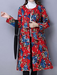 Sale 14% (38.69$) - Vintage Floral Print Thickening Cotton Padded Women Long Coat