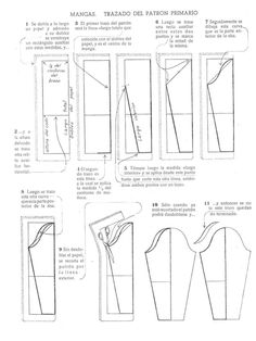 patrones de mangas [Sleeve pattern making - not in English, need to translate… Techniques Couture, Sewing Techniques, Pattern Cutting, Pattern Making, Sewing Art, Sewing Crafts, Sewing Clothes, Diy Clothes, Sewing Hacks