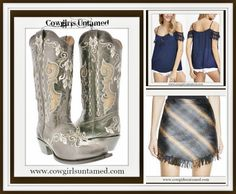 GET the LOOK at COWGIRLS UNTAMED~ Genuine Leather Cowgirl Boots, Blue Lace On or Off the Shoulder Top, SANCTUARY blue and brown fringe designer skirt #designerskirt #fringe #miniskirt #skirt #cowgirlclothing #fashion #cowgirlboots #brown #blue #designerclothing #boots #cowgirl #boutique #tops #fallfashion #beautiful