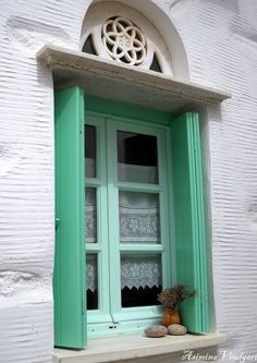 Pyrgos, Tinos Island / by Asimina Voulgari via Greek House, Facades, China Cabinet, Gates, Greece, Inspire, Windows, Doors, Island